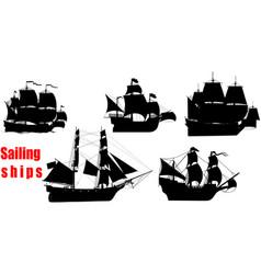 sailing ships set vector image