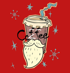 santa coffee in a paper cup christmas drink vector image