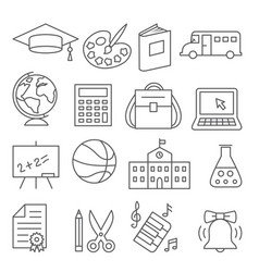 school and education line icons on white vector image