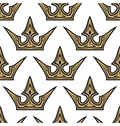 seamless pattern golden crowns vector image
