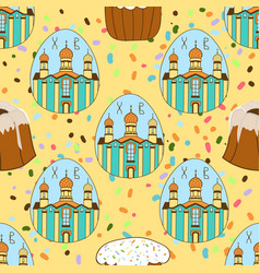seamless pattern with easter cakes painted eggs vector image