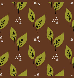 seamless plant leaves pattern hand drawn vector image