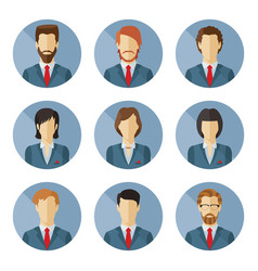 set of business characters in flat design vector image