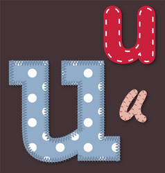 Set of stitched font - Letter U vector image