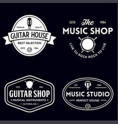 Set vintage logo badge emblem for music shop vector