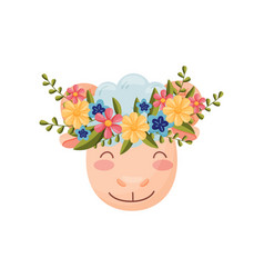 Sheep head with flower wreath flora and fauna vector
