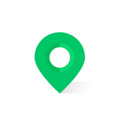 simple green map pin with shadow vector image