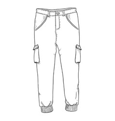 Sketch - jogger pants on white background vector