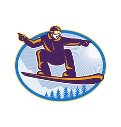 Snowboarder Holding Snowboard Retro vector