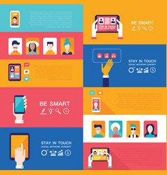 Social network technology banner set vector