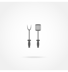 spade and fork for grill icon vector image