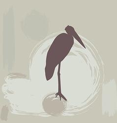 stork silhouette on grunge background vector image