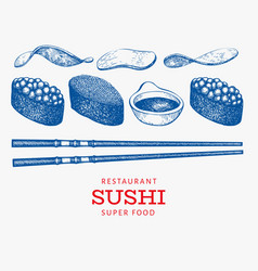 Sushi gunkan and soy sauce set japanese cuisine vector