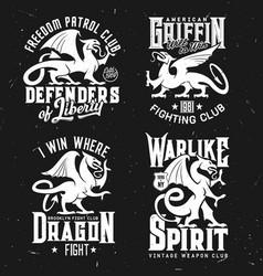T-shirt prints heraldic griffins mascot vector