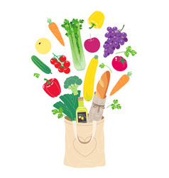 textile eco bag fills up with natural products vector image