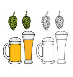 two glasses of beer vector image