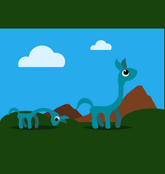 two strange and cute animals grazing in field vector image