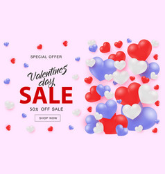 valentine day sale web banner with white red and vector image