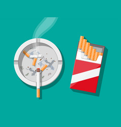 white ceramic ashtray full smokes cigarettes vector image