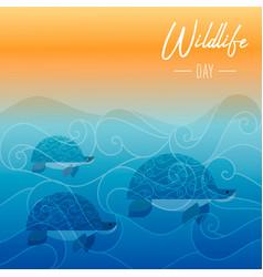 Wildlife day card of turtles swimming underwater vector