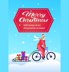 woman cyclist ride bicycle transportation gift vector image