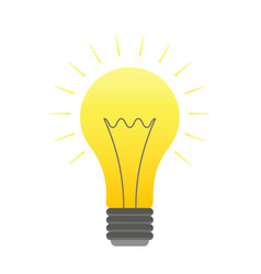 color lightbulb icon bright cartoon bulb vector image