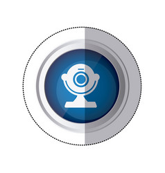 sticker blue circular button with silhouette vector image