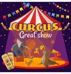 Circus show tent concept cartoon style vector image vector image