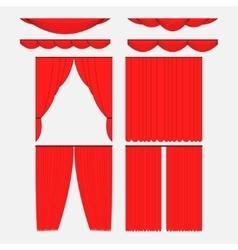 Set of red silk velvet curtains vector image