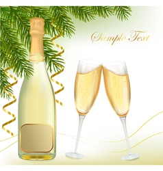 champagne with bottle vector image