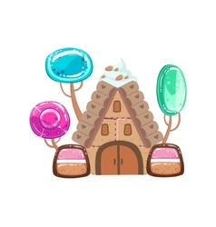 Fairy Tale House With Candy Trees Fantasy Candy vector image