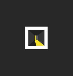 open door logo design abstract dark room with vector image