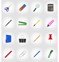 stationery flat icons 17 vector image vector image
