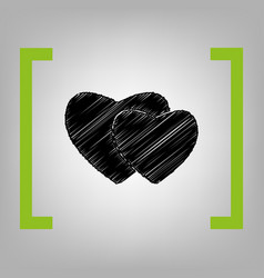 two hearts sign black scribble icon in vector image