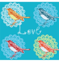 Vintage background with birds vector image