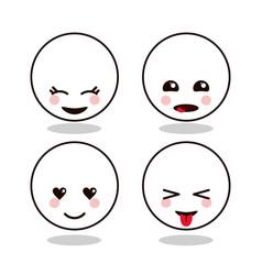 kawaii cartoon circle face expression cute icon vector image