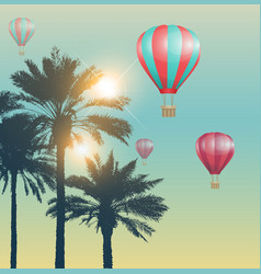red air balloons and palms vector image vector image