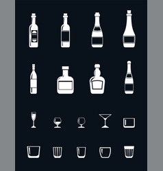 set of alcohol icons in flat style drawing with vector image