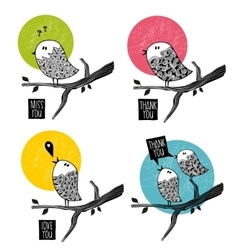 Set of doodle birds on the tree vector image vector image