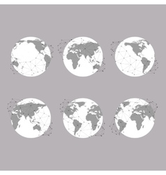Set of globes World Map background for vector image vector image