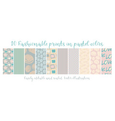 10 chic different seamless patterns vector image