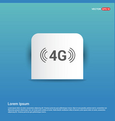 4g connection icon - blue sticker button vector