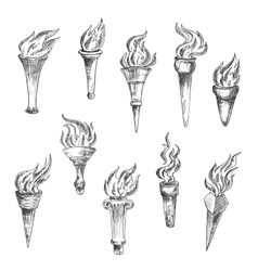 Antique flaming torches sketches set vector image