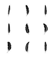 aztec feather icon set simple style vector image