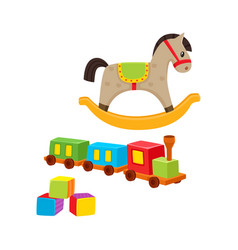 baby wooden toys train rocking horse blocks vector image