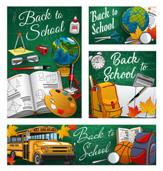 Back to school bus and stationery supplies vector