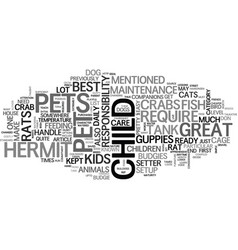 best pet picks for kids text word cloud concept vector image