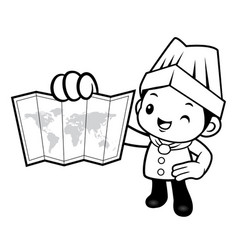 black and white happy chef mascot is holding a vector image