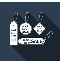 Black Friday sales tag flat icon with long shadow vector image