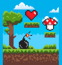 bomb with fire mushroom and heart pixel game vector image